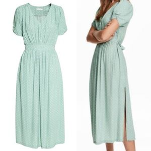H&M Green Polka Dot Dress WITH POCKETS!!